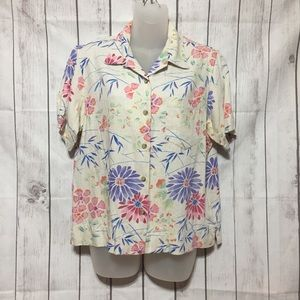 Columbia Floral Button Front Shirt M Viscose Flax